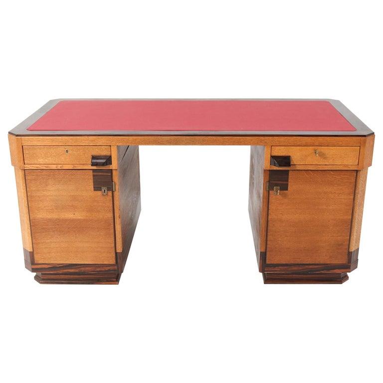 Oak Art Deco Haagse School Pedestal Desk by Anton Lucas, 1920s For Sale