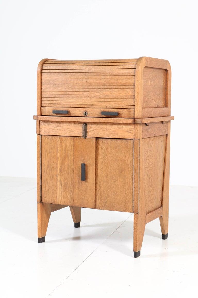 Dutch Oak Art Deco Haagse School Roll Top Desk by Allan & Co. Rotterdam, 1920s For Sale