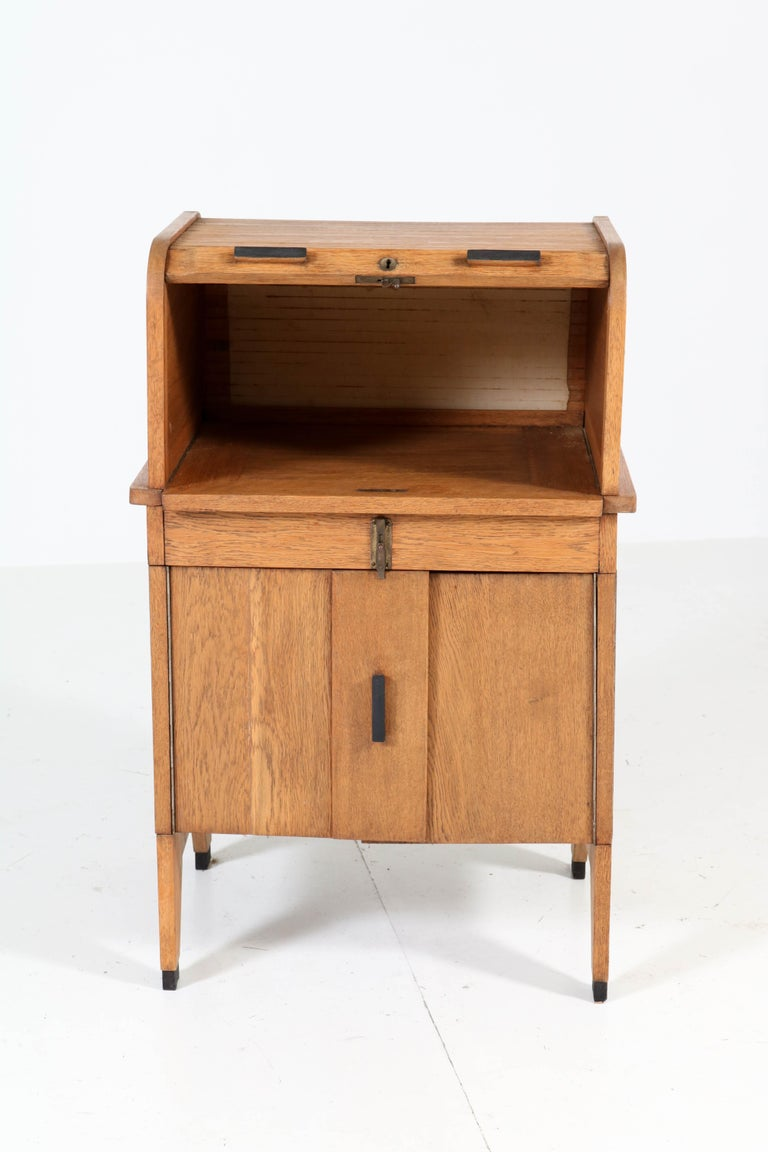 Oak Art Deco Haagse School Roll Top Desk by Allan & Co. Rotterdam, 1920s In Good Condition For Sale In Amsterdam, NL