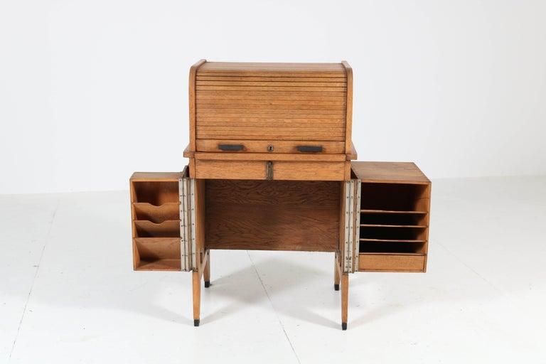Early 20th Century Oak Art Deco Haagse School Roll Top Desk by Allan & Co. Rotterdam, 1920s For Sale