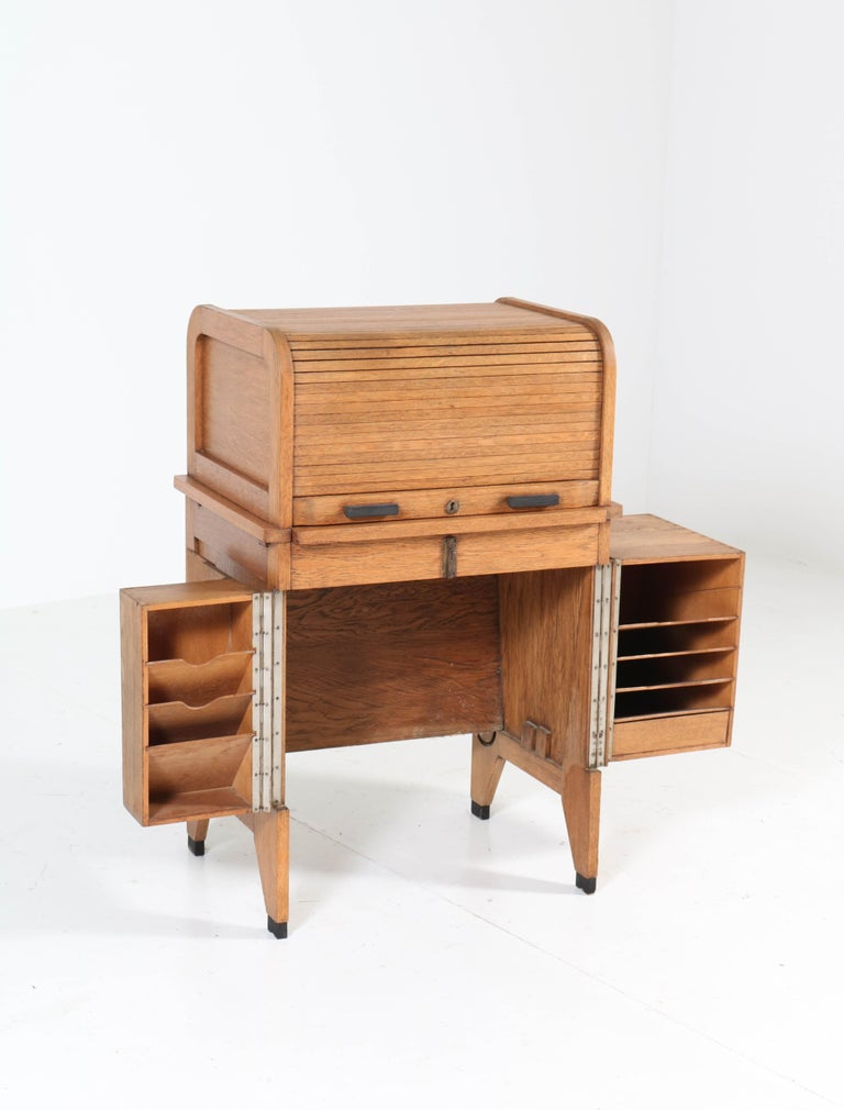 Oak Art Deco Haagse School Roll Top Desk by Allan & Co. Rotterdam, 1920s For Sale 1