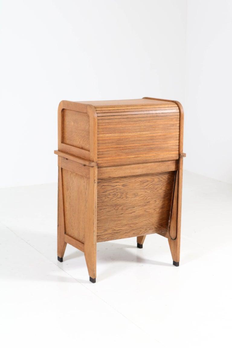 Oak Art Deco Haagse School Roll Top Desk by Allan & Co. Rotterdam, 1920s For Sale 3