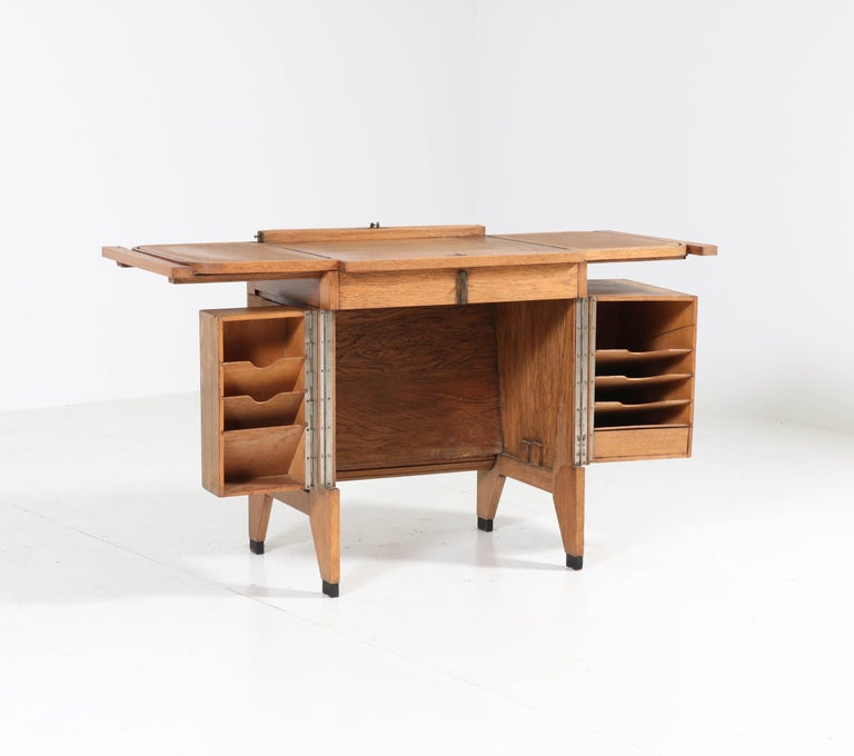 Oak Art Deco Haagse School Roll Top Desk by Allan & Co. Rotterdam, 1920s For Sale 4