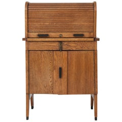 Oak Art Deco Haagse School Roll Top Desk by Allan & Co. Rotterdam, 1920s