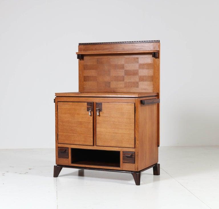 Glass Oak Art Deco Haagse School Serving Cabinet by Anton Lucas, 1920s For Sale