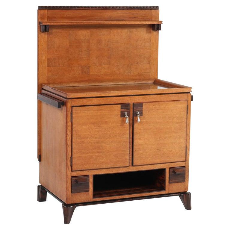 Oak Art Deco Haagse School Serving Cabinet by Anton Lucas, 1920s For Sale
