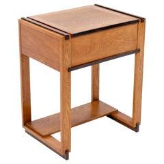 Oak Art Deco Haagse School Sewing Table by P.E.L. Izeren for Genneper Molen