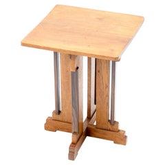 Oak Art Deco Haagse School Side Table by P.E.L. Izeren for Genneper Molen