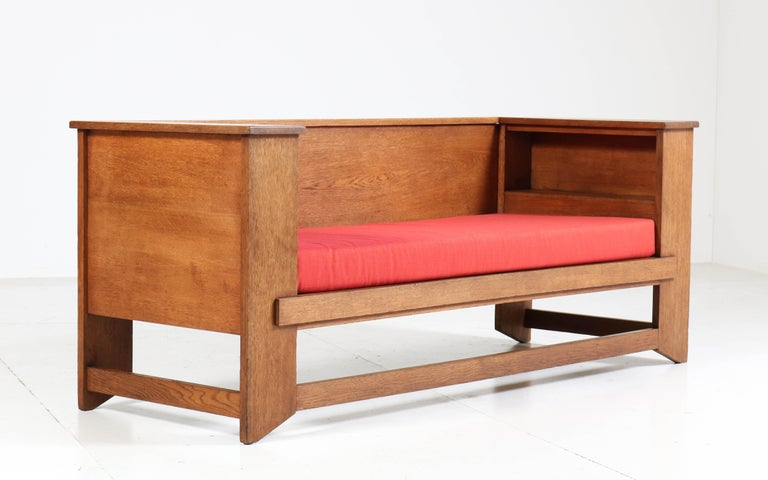 Oak Art Deco Haagse School Sofa or Bench by Henk Wouda for Pander & Zonen, 1924 In Good Condition For Sale In Amsterdam, NL
