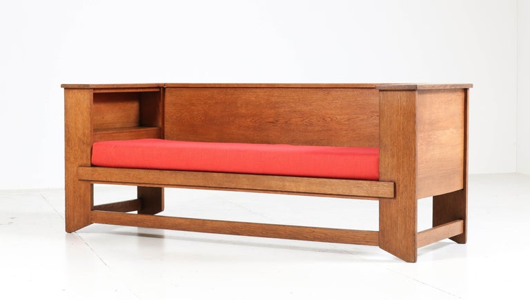 Early 20th Century Oak Art Deco Haagse School Sofa or Bench by Henk Wouda for Pander & Zonen, 1924 For Sale