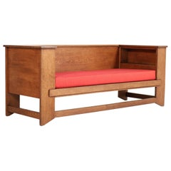 Oak Art Deco Haagse School Sofa or Bench by Hendrik Wouda for Pander & Zonen