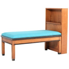Oak Art Deco Haagse School Sofa with Bookcase by Jan Brunott, 1920s