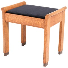 Oak Art Deco Haagse School Stool by J.A. Muntendam for L.O.V. Oosterbeek, 1920s