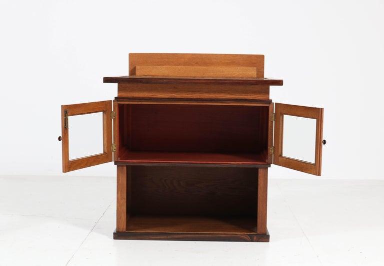 Dutch Oak Art Deco Haagse School Tea Cabinet by P.E.L. Izeren for Genneper Molen For Sale