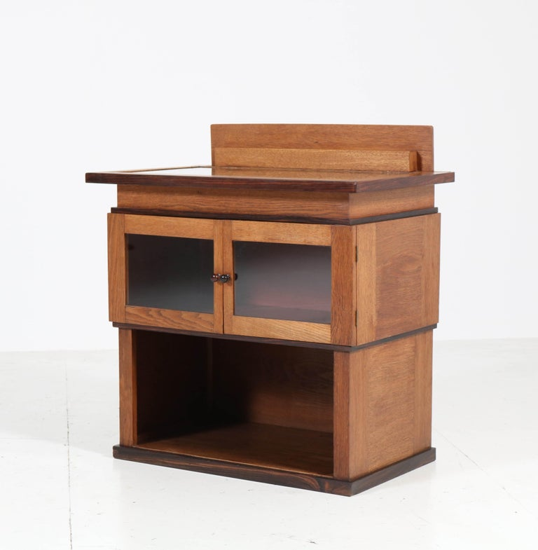 Oak Art Deco Haagse School Tea Cabinet by P.E.L. Izeren for Genneper Molen For Sale 1