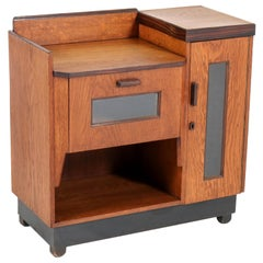 Oak Art Deco Haagse School Tea Cabinet by P.E.L. Izeren for Genneper Molen