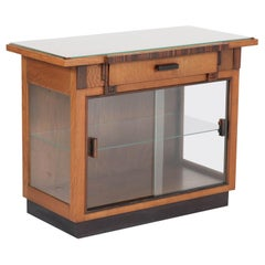 Oak Art Deco Haagse School Tea Cabinet with Drawer, 1920s