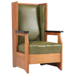 Oak Art Deco Haagse School Wingback Chair by Henk Wouda for Pander, 1924