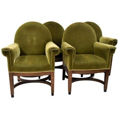 Art Deco Green Velvet Management Chairs by Pander and Sons