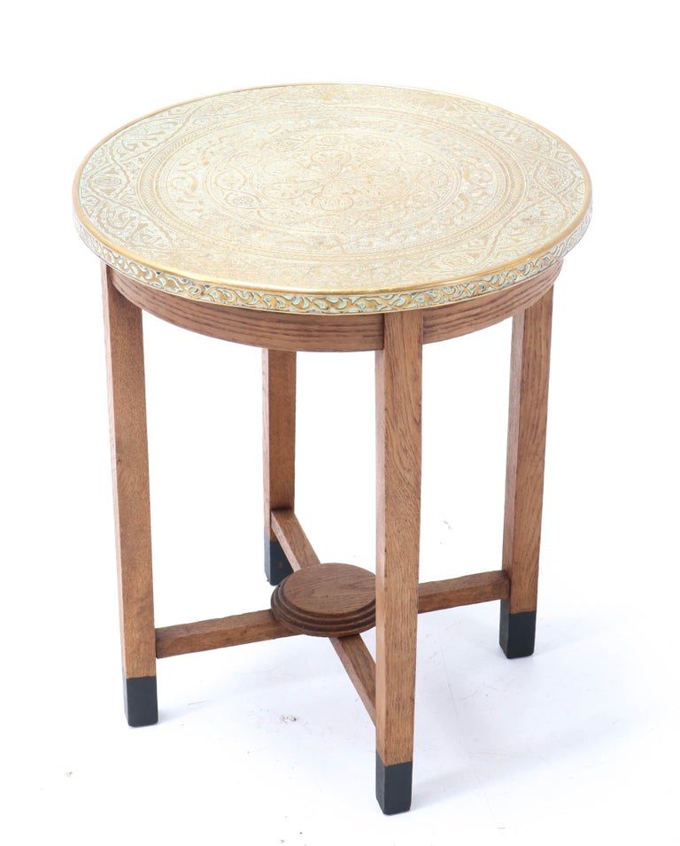 Dutch Oak Art Deco Occasional Table with Original Etched Brass Top, 1930s
