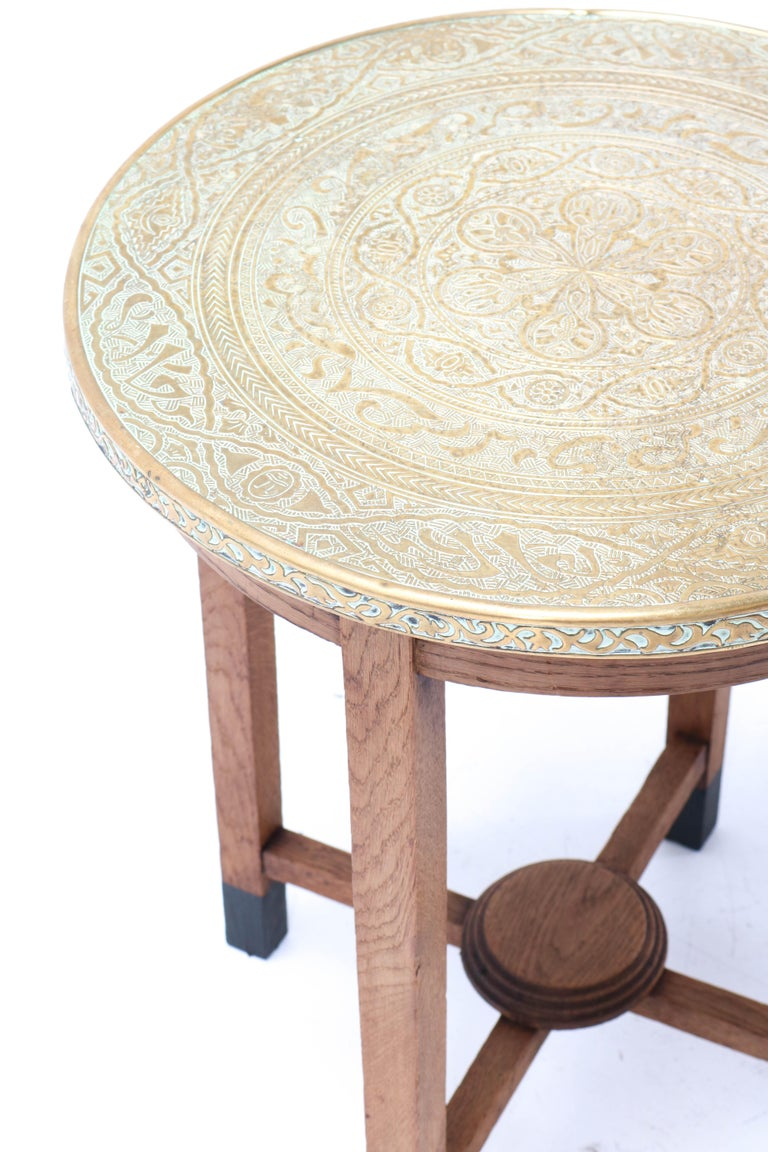 Oak Art Deco Occasional Table with Original Etched Brass Top, 1930s In Good Condition In Amsterdam, NL