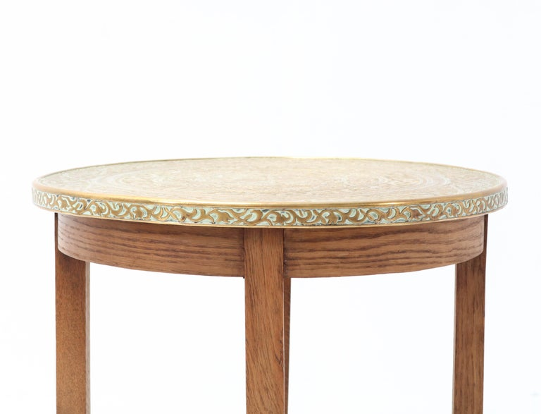 Mid-20th Century Oak Art Deco Occasional Table with Original Etched Brass Top, 1930s