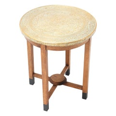 Oak Art Deco Occasional Table with Original Etched Brass Top, 1930s