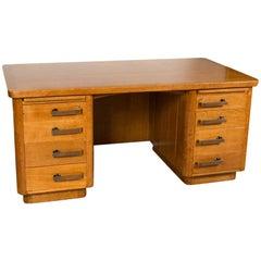 Eiche Art Deco-Stil Schreibtisch mit Bronze-griffen