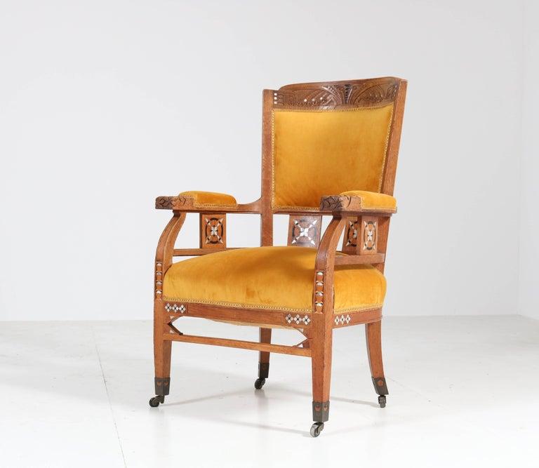 Arts and Crafts Oak Art Nouveau Arts & Crafts Armchairs by H.F. Jansen en Zonen Amsterdam, 1900s For Sale