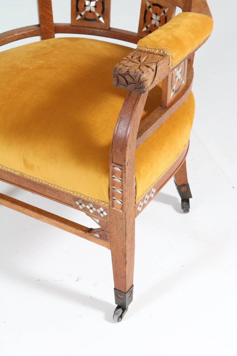 Dutch Oak Art Nouveau Arts & Crafts Armchairs by H.F. Jansen en Zonen Amsterdam, 1900s For Sale