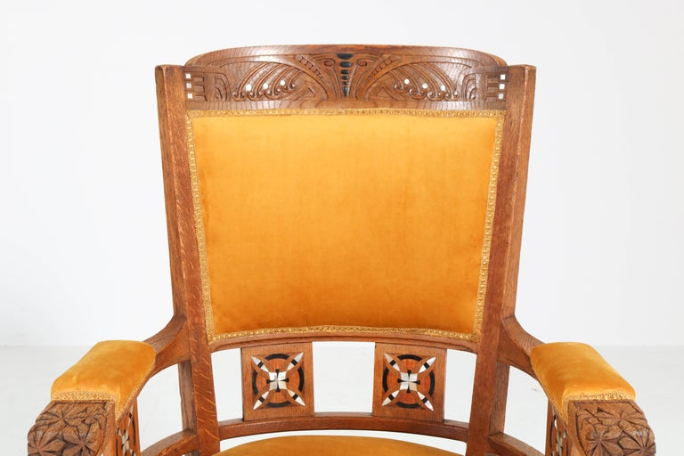 Oak Art Nouveau Arts & Crafts Armchairs by H.F. Jansen en Zonen Amsterdam, 1900s In Good Condition For Sale In Amsterdam, NL