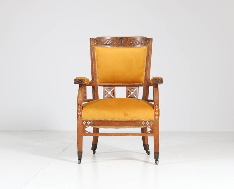Early 20th Century Oak Art Nouveau Arts & Crafts Armchairs by H.F. Jansen en Zonen Amsterdam, 1900s For Sale