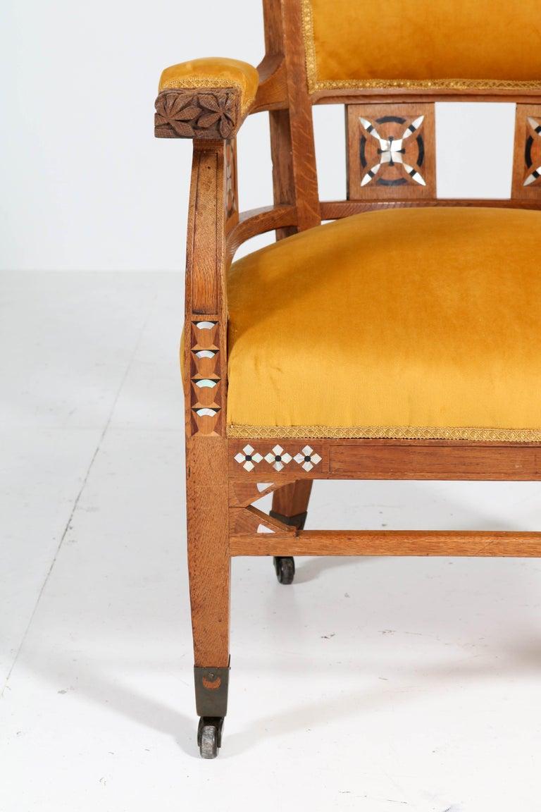 Velvet Oak Art Nouveau Arts & Crafts Armchairs by H.F. Jansen en Zonen Amsterdam, 1900s For Sale