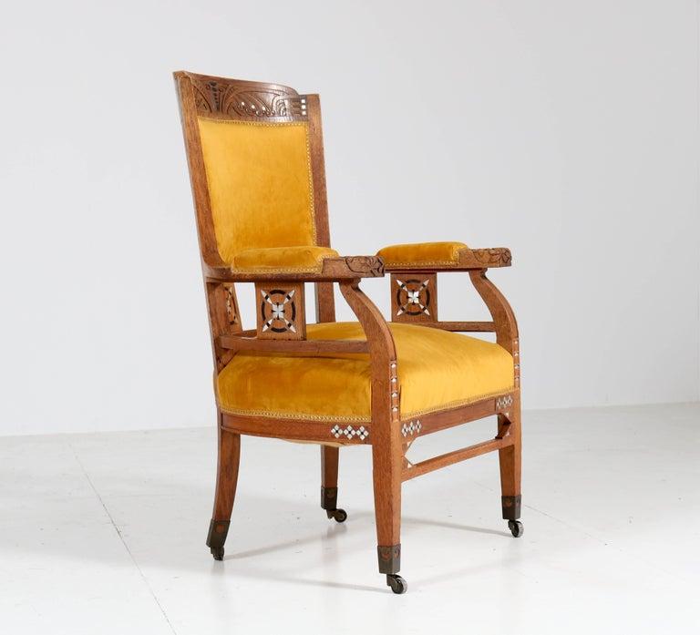 Oak Art Nouveau Arts & Crafts Armchairs by H.F. Jansen en Zonen Amsterdam, 1900s For Sale 1