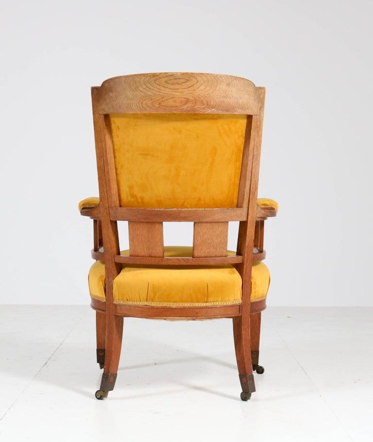 Oak Art Nouveau Arts & Crafts Armchairs by H.F. Jansen en Zonen Amsterdam, 1900s For Sale 2