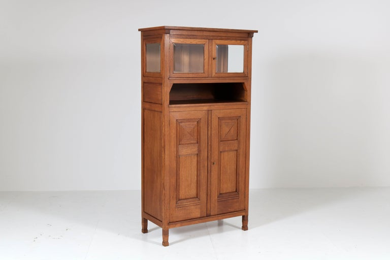 Oak Art Nouveau Arts & Crafts Bookcase by A.R. Wittop Koning for J.A. Huizinga For Sale 3
