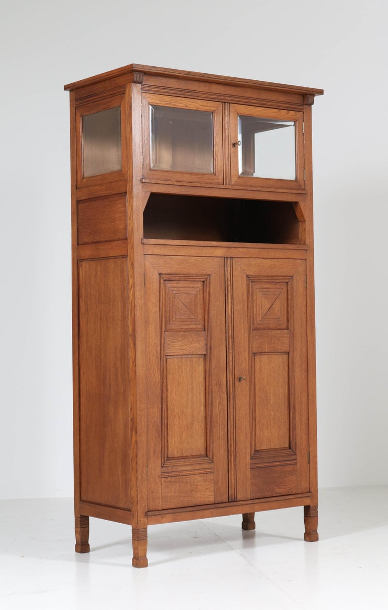 Oak Art Nouveau Arts & Crafts Bookcase by A.R. Wittop Koning for J.A. Huizinga For Sale 4