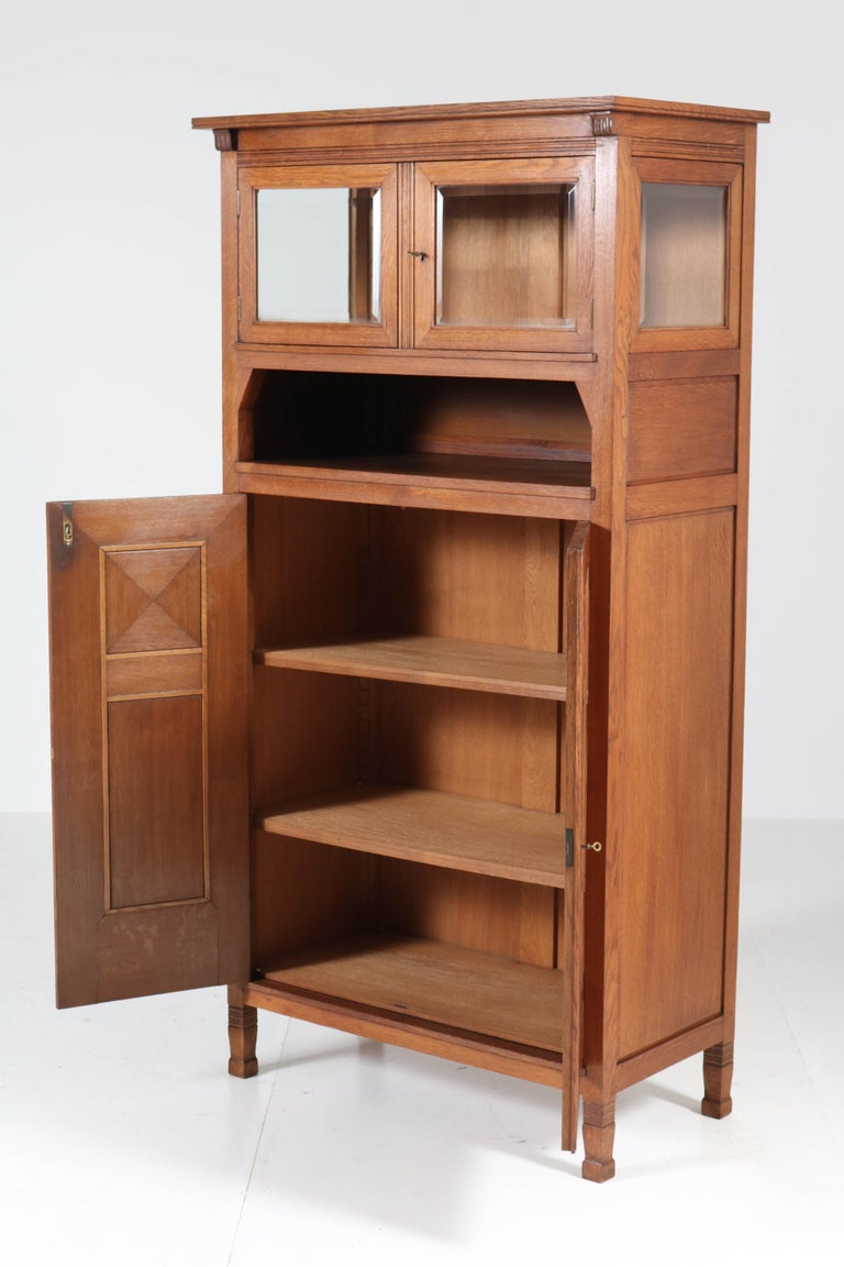 Wonderful and rare Art Nouveau Arts & Crafts bookcase.