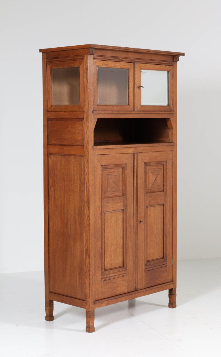 Beveled Oak Art Nouveau Arts & Crafts Bookcase by A.R. Wittop Koning for J.A. Huizinga For Sale