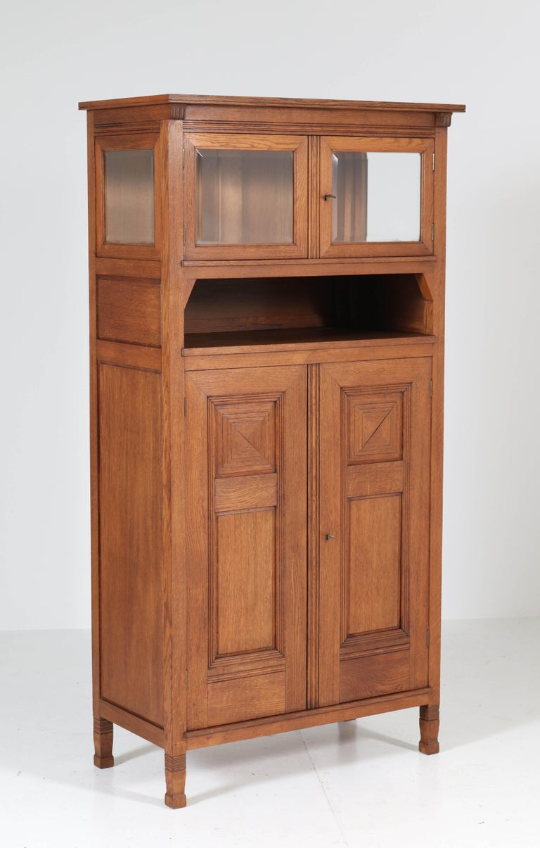 Oak Art Nouveau Arts & Crafts Bookcase by A.R. Wittop Koning for J.A. Huizinga In Good Condition For Sale In Amsterdam, NL