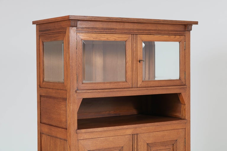 Early 20th Century Oak Art Nouveau Arts & Crafts Bookcase by A.R. Wittop Koning for J.A. Huizinga For Sale