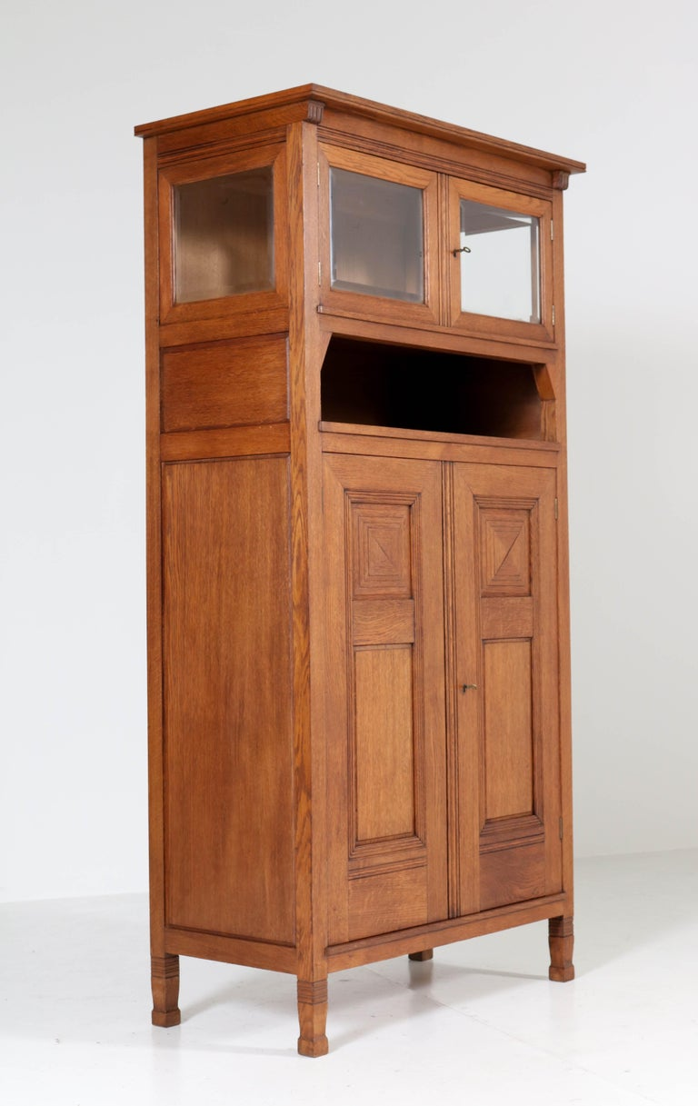 Glass Oak Art Nouveau Arts & Crafts Bookcase by A.R. Wittop Koning for J.A. Huizinga For Sale