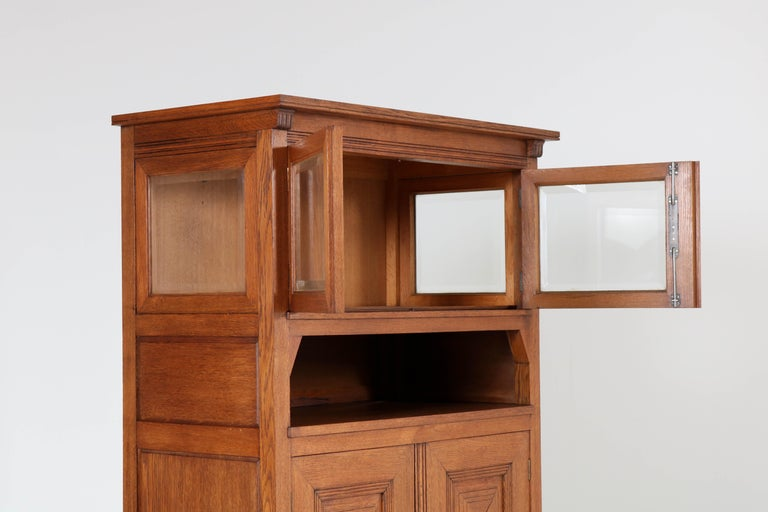 Oak Art Nouveau Arts & Crafts Bookcase by A.R. Wittop Koning for J.A. Huizinga For Sale 2
