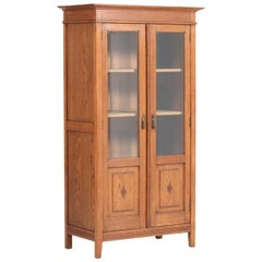 Oak Art Nouveau Arts & Crafts Bookcase with Beveled Glass, 1900s