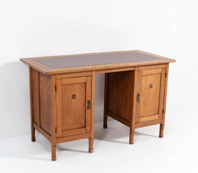 Dutch Oak Art Nouveau Arts & Crafts Pedestal Desk, 1900s For Sale