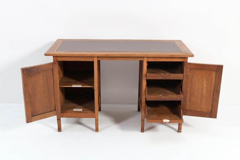 Brass Oak Art Nouveau Arts & Crafts Pedestal Desk, 1900s For Sale