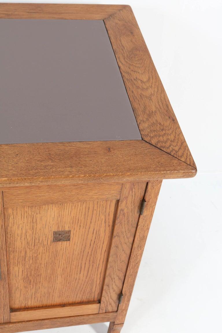 Oak Art Nouveau Arts & Crafts Pedestal Desk, 1900s For Sale 3