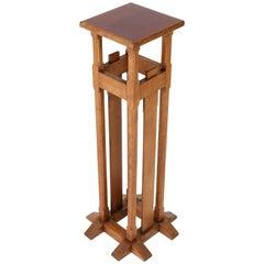 Oak Art Nouveau Arts & Crafts Pedestal in the Style of A. J. Kropholler, 1900s