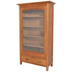 Oak Art Nouveau Bookcase with Beveled Glass, 1900s