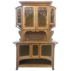 French Oak Art Nouveau 'Breakfront' Cabinet 19th century